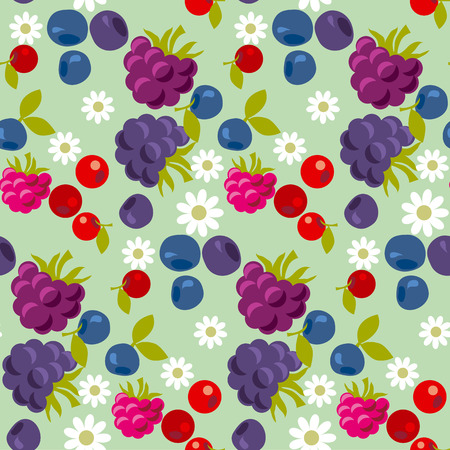 Assorted violet and blue forest berry seamless pattern. vector illustration. Illustration