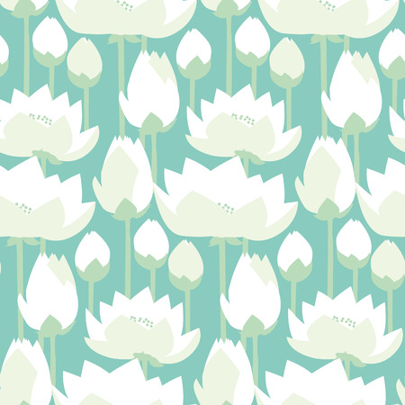 sacral: flat design lotus lilies decrataive seamless pattern. vector illlustration Illustration