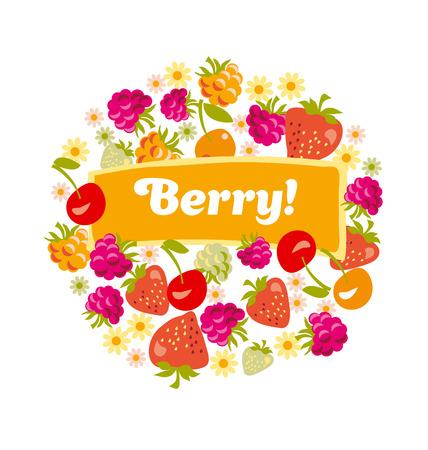 red assorted berry set. vector illustration. Иллюстрация