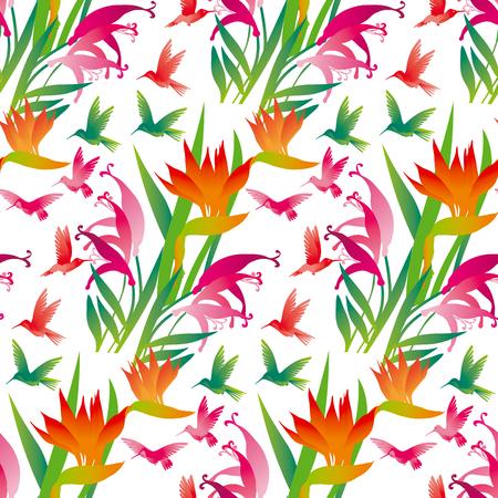 tropical exotic flower seamless pattern on white background. vector illustration. Illusztráció