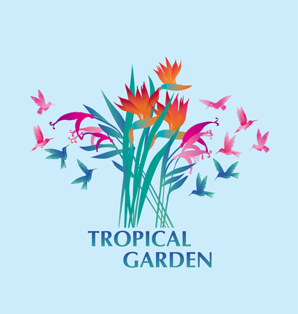 tropical exotic decorative flower bunch and  hummingbirds. vector illustration.