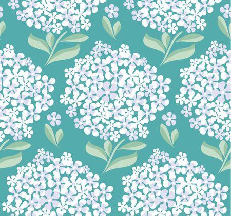 chick: decorative hydrangea blossom seamless pattern. vector illustration