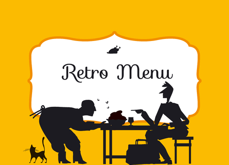 retro style eating people silhouette. vintage restaurant guest header with frame. vector illustration of black and white concept old cafe  poster