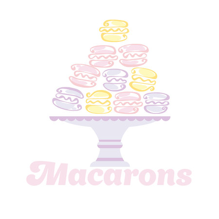 macaron: pale color macaron pyramid on the plate. vector illustration Illustration