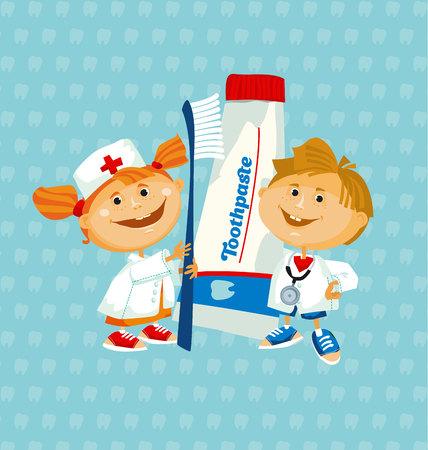 tandarts schattig kind met grote tandpasta en tandenborstel. vector illustratie Stock Illustratie