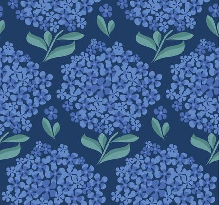 decorative hydrangea blossom seamless pattern. vector illustration