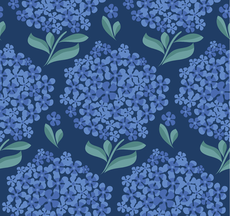 decorative hydrangea blossom seamless pattern. vector illustration