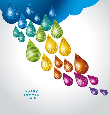 huge funny water rain drop in rainbow colors. vector illustration 向量圖像