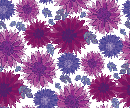 Chrysant bloem tegel design element. Aster bloemen decoratieve vector illustratie. Herfst bloesem in violette kleuren herhaalbaar motief. Herfst bloemen rustieke boeren stijl naadloze patroon