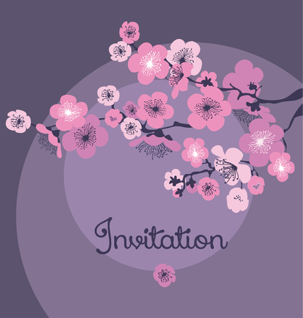 夜に淡い色の桜の花。ベクトル図