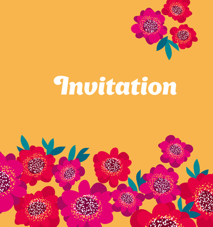 vermeil: bright pink and red decorative camellia flowers header template. vector illustration Illustration