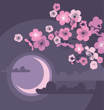 cherry blossom and moon in the night on dark gray background. vector illustration Illustration