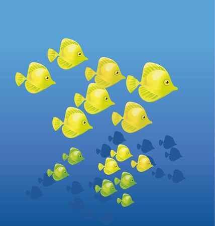 yellow coral fish on blue water background. vector illustration