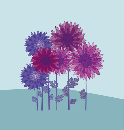 chrysanthemum flower design element.  aster floral decorative vector illustration. fall blossom in violet colors motif. autumn flowers rustic peasant style template Illustration