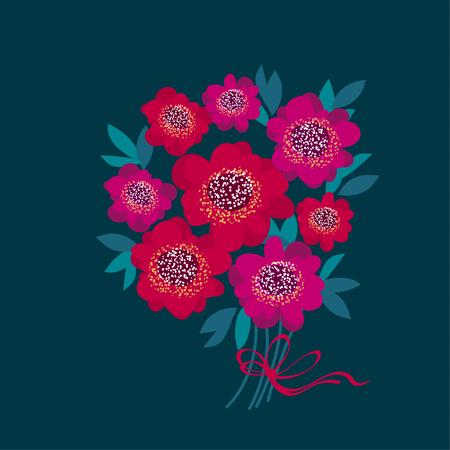 vermeil: decorative camellia flowers bouquet. vector illustration Illustration