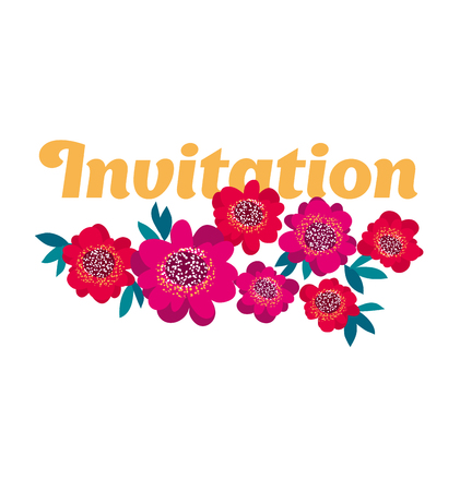 bright pink and red decorative camellia flowers header template. vector illustration Illustration