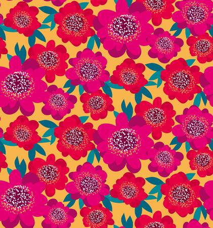 La camelia decorativa decorativa rosada y roja florece el modelo inconsútil. Ilustración vectorial Foto de archivo - 81587426