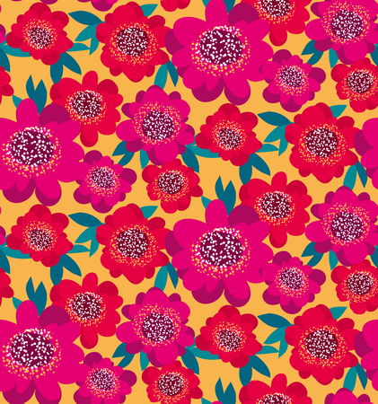 bright pink and red decorative camellia flowers seamless pattern. vector illustration