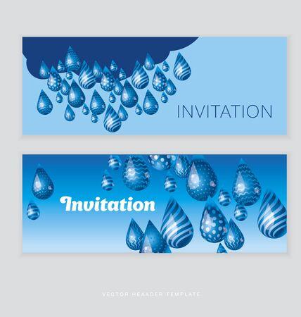 cerulean: huge funny blue water rain drop header template. vector illustration