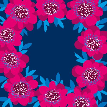 pink decorative camellia flowers frame. vector illustration Illustration