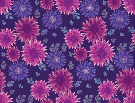 aster: chrysanthemum flower tile design element.  aster floral decorative vector illustration. fall blossom in violet colors repeatable motif. autumn flowers rustic peasant style seamless pattern