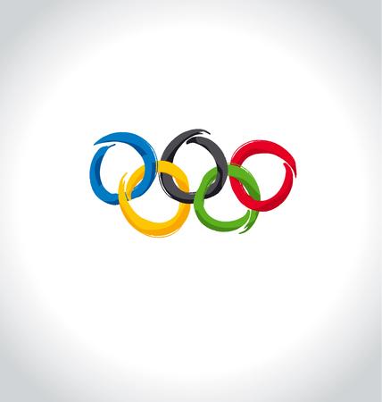 Vector illustration of brush painted sport rings over white background. Illustration
