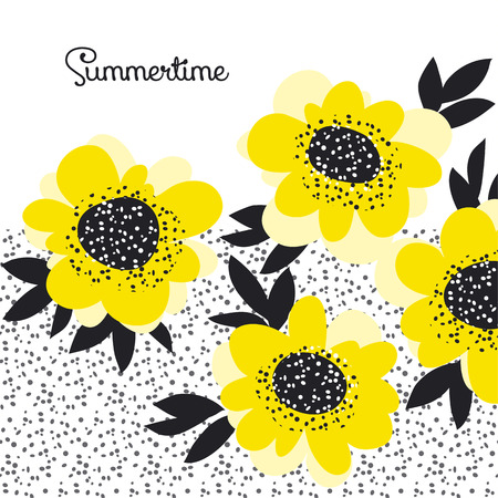 yellow color abstract camellia flowers design element. vector sketch floral illustration