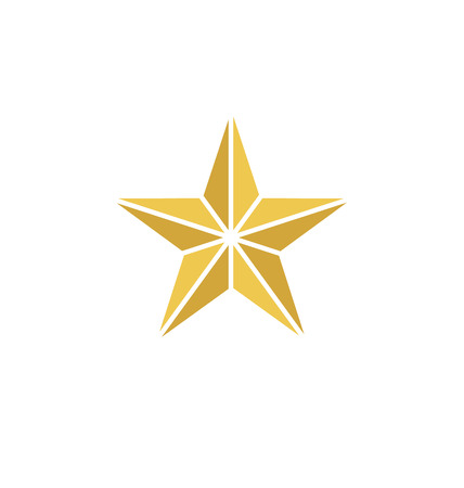 Gold Star Icon With Lines Vector Yellow Stars Pictogram Art