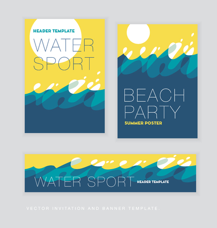 abstract summer sunny sea wave background. template for banner, cards, poster. vector illustration.