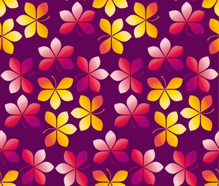 fall colored wallpaper vector illustration. wrapping paper motif seamless pattern. purple red yellow chestnut leaves carpet Illustration