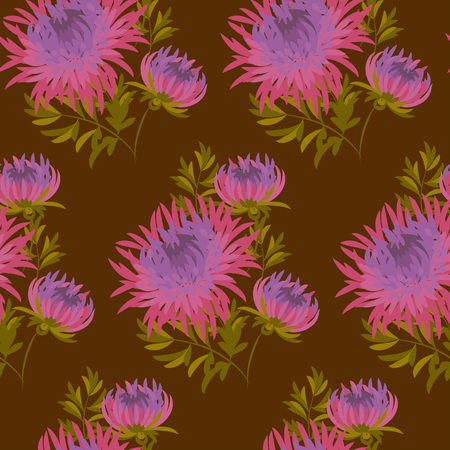 darck: fall flower seamless pattern. pink chrysanthemum repeatable motif.  autumn  purple flower vector illustration. elegant natural ornament on darck brown background