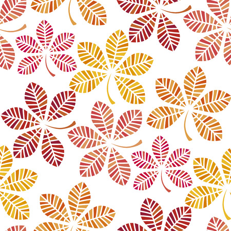 fall colored wallpaper vector illustration. wrapping paper motif seamless pattern on white background. red yellow chestnut leaves fabric