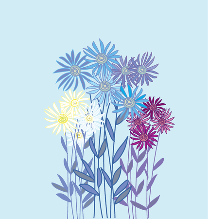 aster: golden-daisy floral element on light blue background.  decorative aster or chrysanthemum vector illustration
