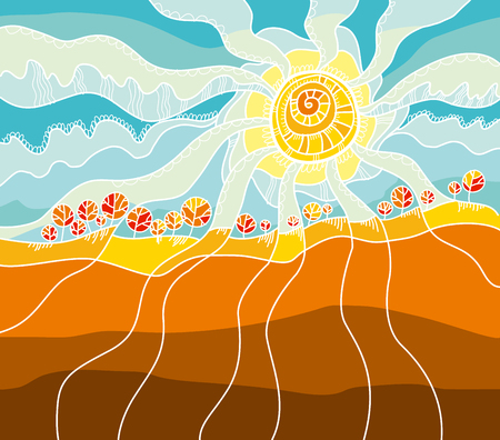 windy day: autumn  landscape concept vector illustration. rustical style fall sky and sun.