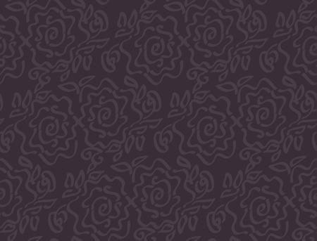 Deep dark laze style tender rose floral abstract vector illustration of seamless pattern Illustration