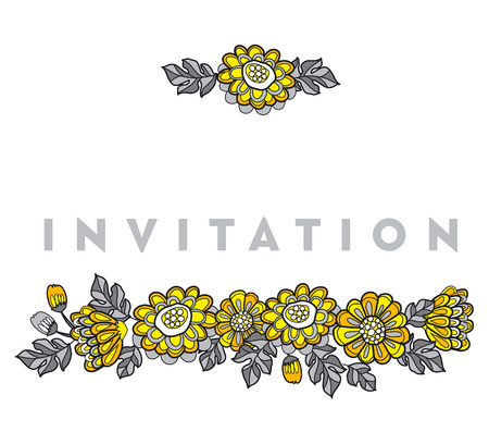 yellow decorative floral fall card template. flower vector illustration motif for invitation and header Illustration