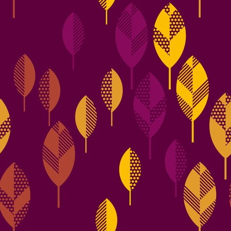 darck: autumn leaves vector illustration abstract. seamless pattern with colorfull full leaf on darck black background