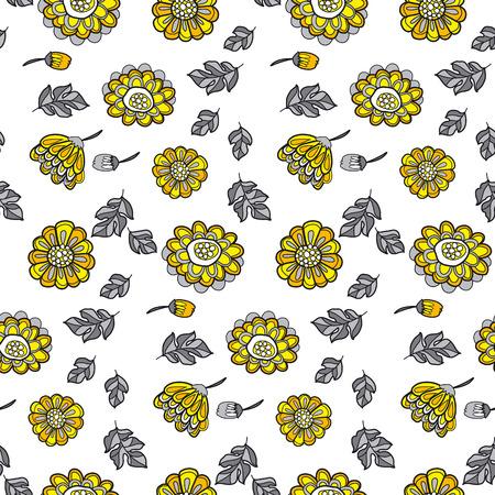 yellow decorative floral fall seamless pattern. black and gray vector illustration flower motif Иллюстрация