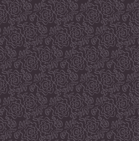 deep dark  laze style tender rose floral abstract vector illustration of seamless pattern