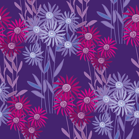 golden-daisy wrapping paper vector illustration. floral fall background on deep violet background. chrysanthemum autumn seamless pattern
