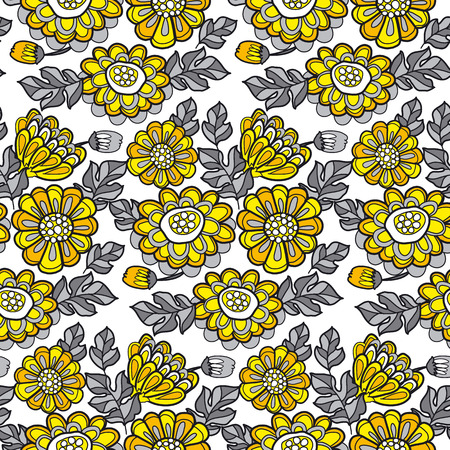 everlasting: yellow decorative floral fall seamless pattern. black and gray vector illustration flower motif Illustration
