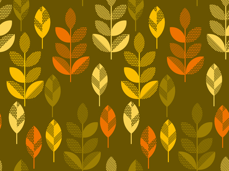 autumn leaves vector illustration abstract. seamless pattern with colorfull full leaf on green background