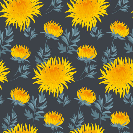 golden daisy: fall flower seamless pattern. yellow chrysanthemum repeatable motif.  autumn gold flower vector illustration. elegant natural ornament on deep blue black background Illustration