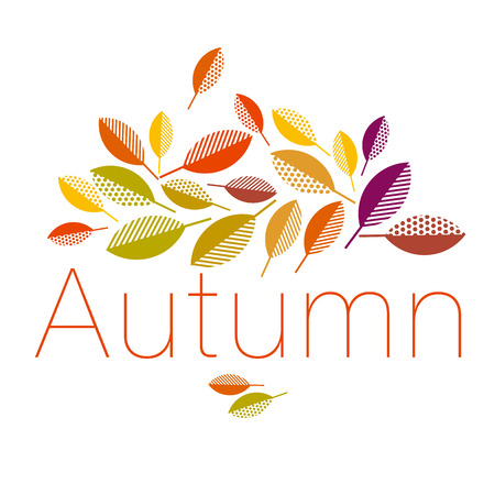 autumn leaves vector illustration abstract. full leaf header in geometry style Illustration