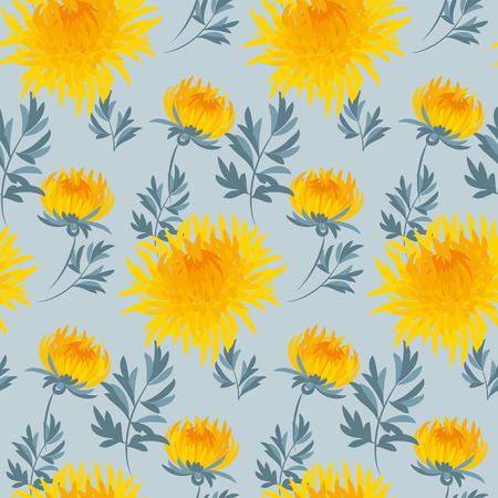 golden daisy: fall flower seamless pattern. yellow chrysanthemum repeatable motif.  autumn gold flower vector illustration. elegant natural ornament foe fabric or paper