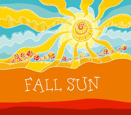 秋の風景概念ベクトル イラスト。rustical スタイル秋の空と太陽。