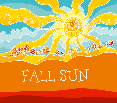 autumn  landscape concept vector illustration. rustical style fall sky and sun.