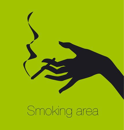 broadsheet: hand with cigarette, smoking area sign, vector silhouette illustration  Illustration