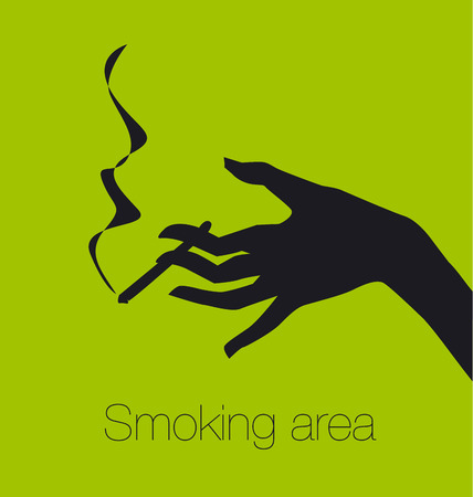 hand with cigarette, smoking area sign, vector silhouette illustration  Illustration
