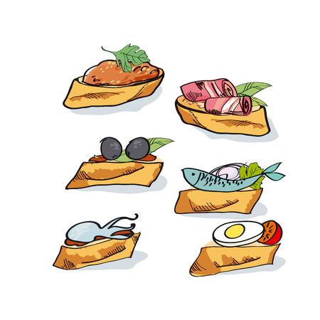Tapas schets vector illustratie. fast food meal concept. snacks op het brood.